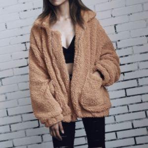 Lyla Tan V Neck Sherpa Fleece Zip Up Coat Jacket